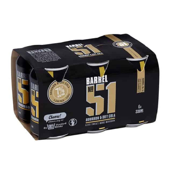 BARREL 51 BOURBON COLA 7% 6PK CANS 330ML - Thirsty Liquor Hillcrest