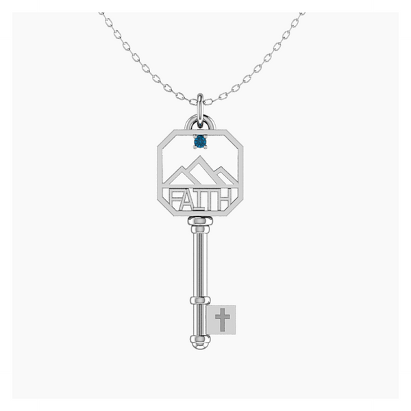 Blue Topaz FAITH Key in Sterling Silver