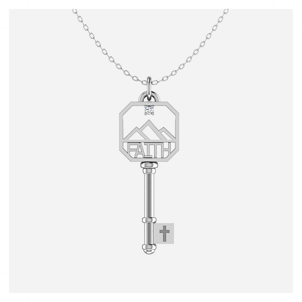 Diamond FAITH Key in Sterling Silver
