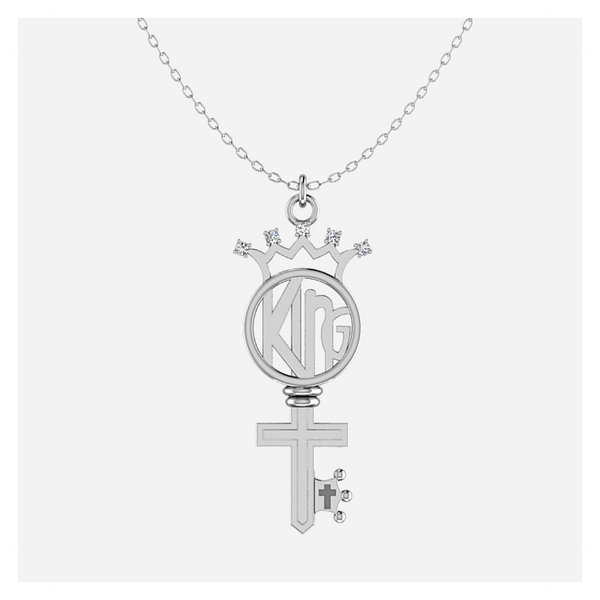 Diamond KING Key in Sterling Silver