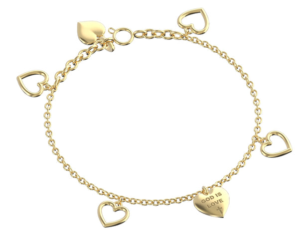 God is Love Charm Bracelet 14k Yellow Gold