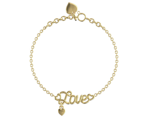 Love Written Bracelet 14K Solid Gold