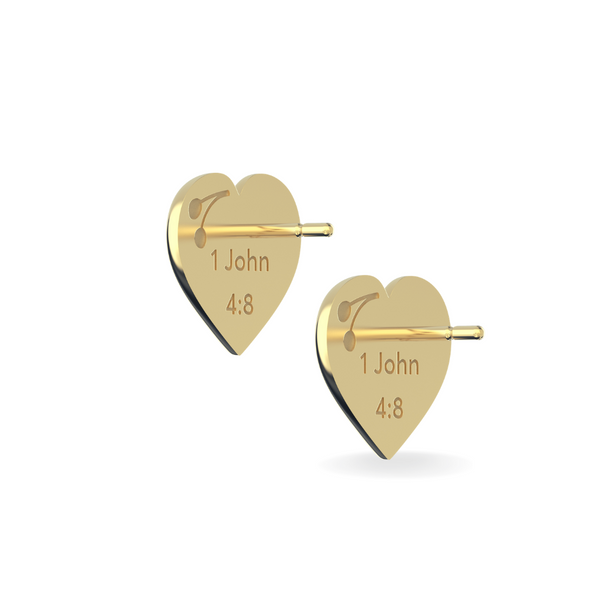 God is Love Stud Earrings 14k Solid Gold