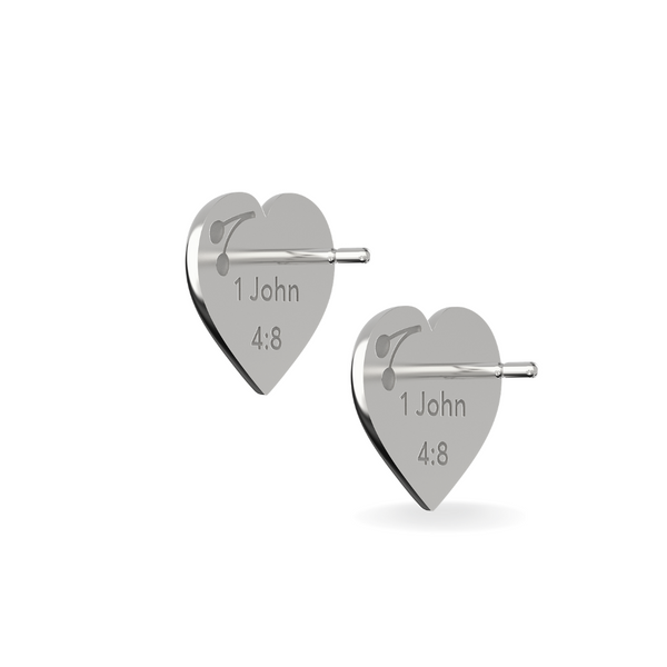 Full Heart Stud Earring God is Love Sterling Silver