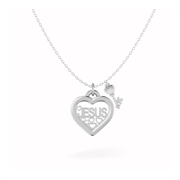 JESUS Heart and Key Sterling Silver