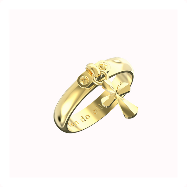 Cross Dangle Ring 14k Solid Gold