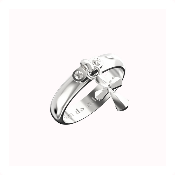 Cross Dangle Ring - Sterling Silver