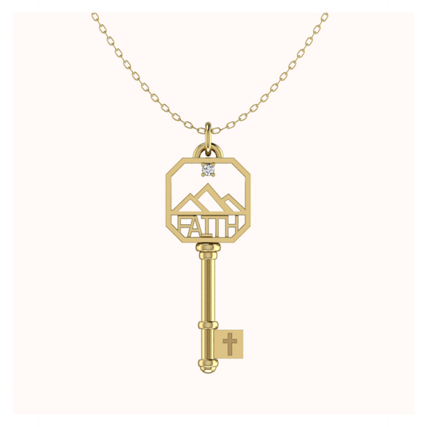 Diamond FAITH Key In 18k Gold Vermeil
