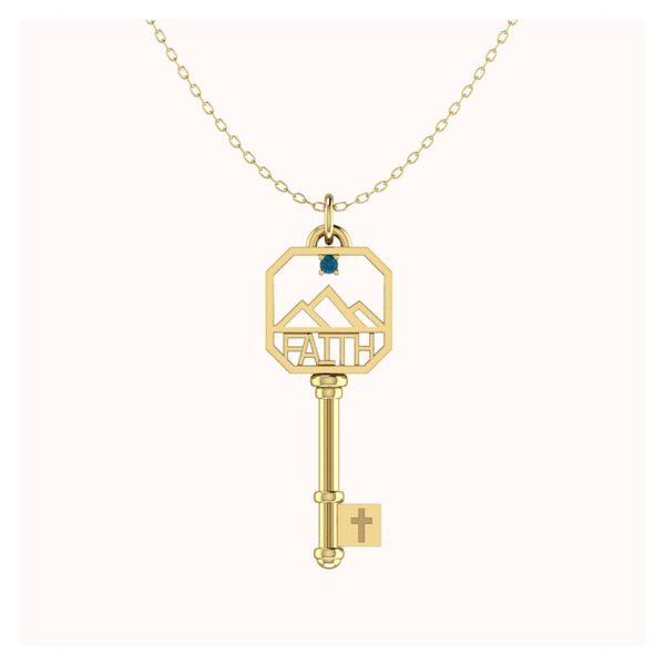 Blue Topaz FAITH Necklace In 14k Solid Gold