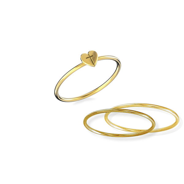 Heart Cross Ring Stack (includes all three rings) 14K Solid Gold