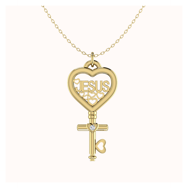 Diamond JESUS Key 18k Gold Vermeil