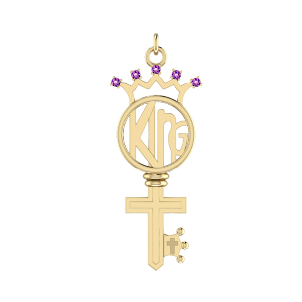 Amethyst KING Key in 14k Solid Gold