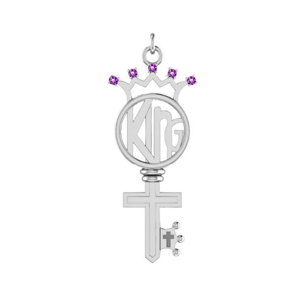 Amethyst KING Key in Sterling Silver