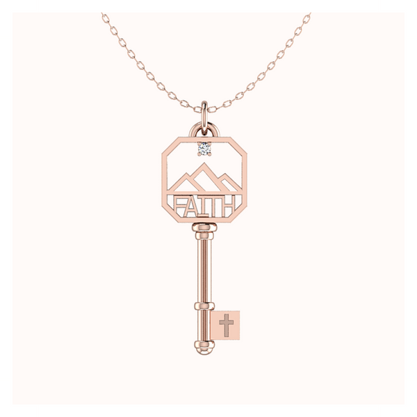 Diamond FAITH Key In 14k Solid Rose Gold