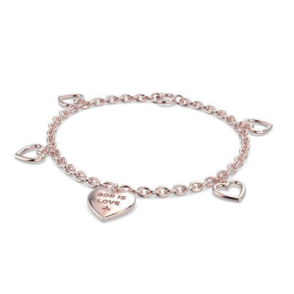 God is Love Charm Bracelet 14k Rose Gold