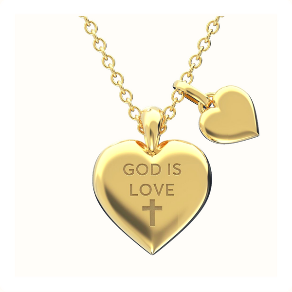 God is Love Heart Necklace 14k Solid Gold