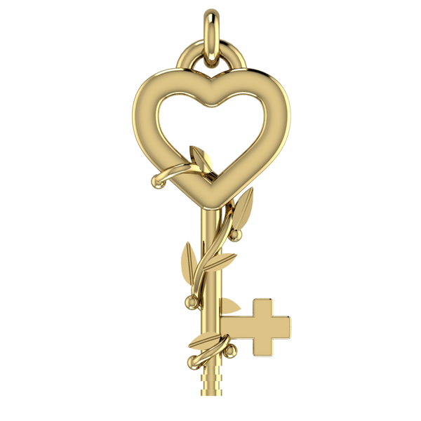 FAITH, HOPE, LOVE Key in 14k Solid Gold