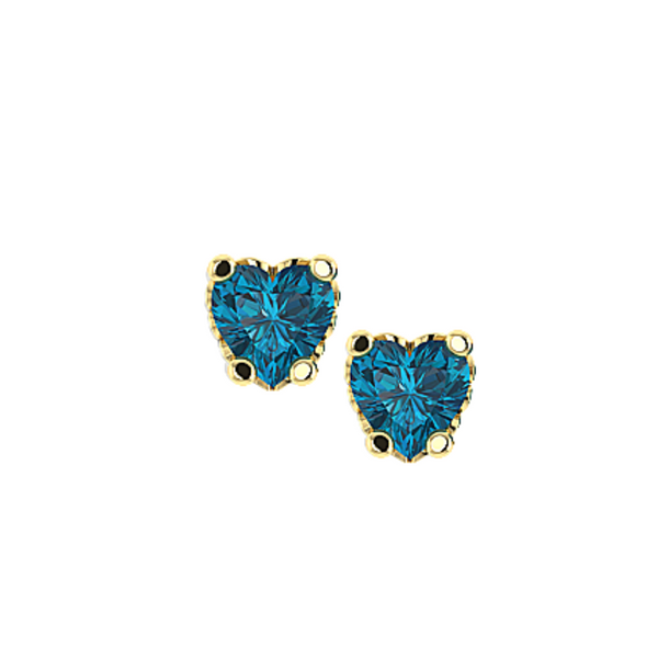 Mini Gemstone Heart Stud Earrings - 14K Solid Gold and Blue Topaz