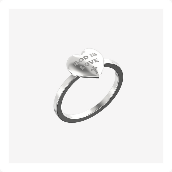 God is Love Ring Sterling Silver