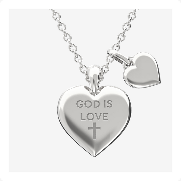 God is Love Heart Necklace Sterling Silver