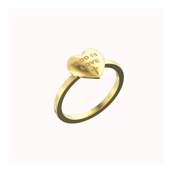 God is Love Ring 14k Solid Gold
