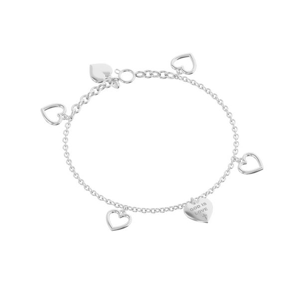 God is Love Charm Bracelet Sterling Silver