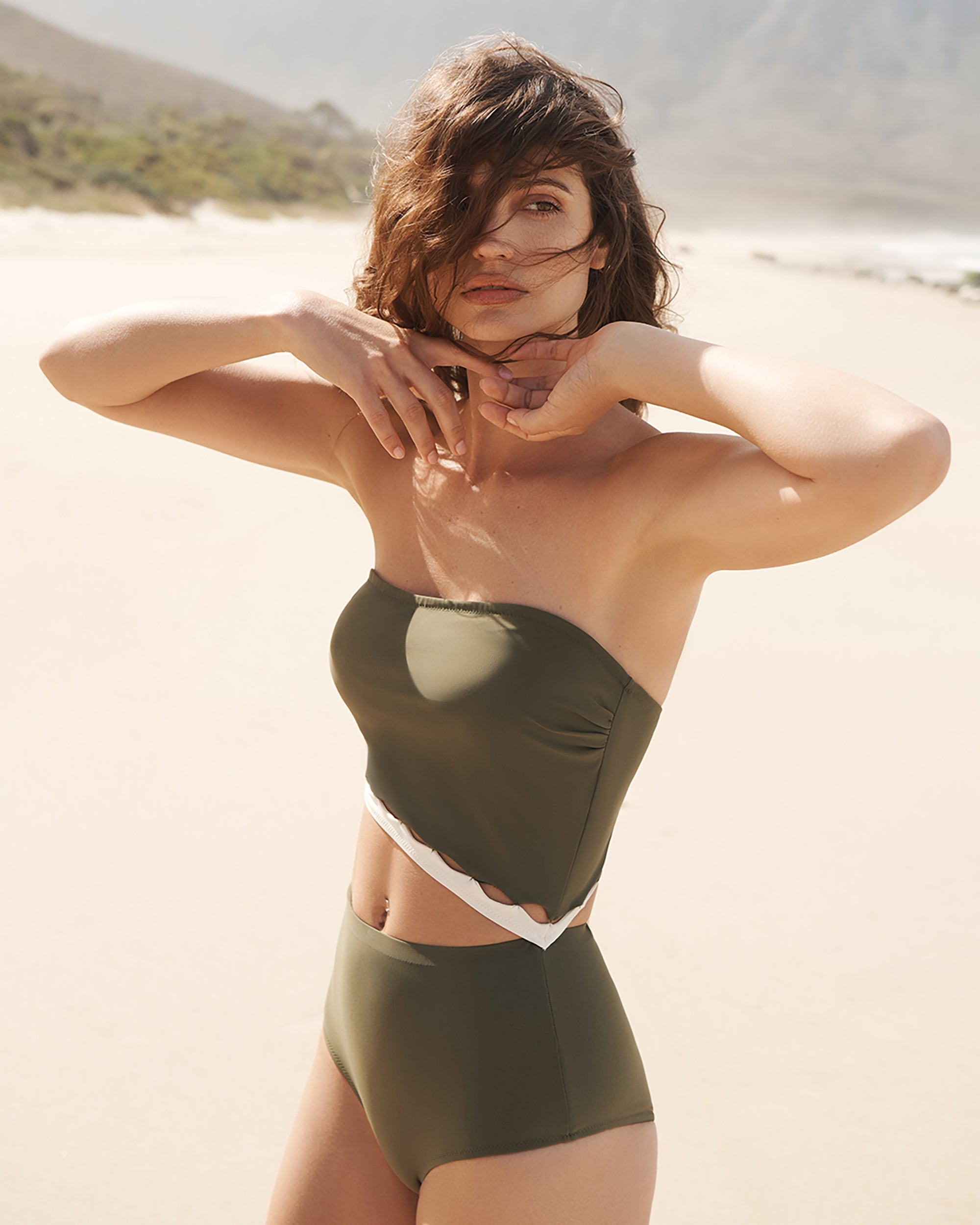 EVARE Bree Cut Out Swimsuit in Sage / Creme Sustainable Swimwear SS20