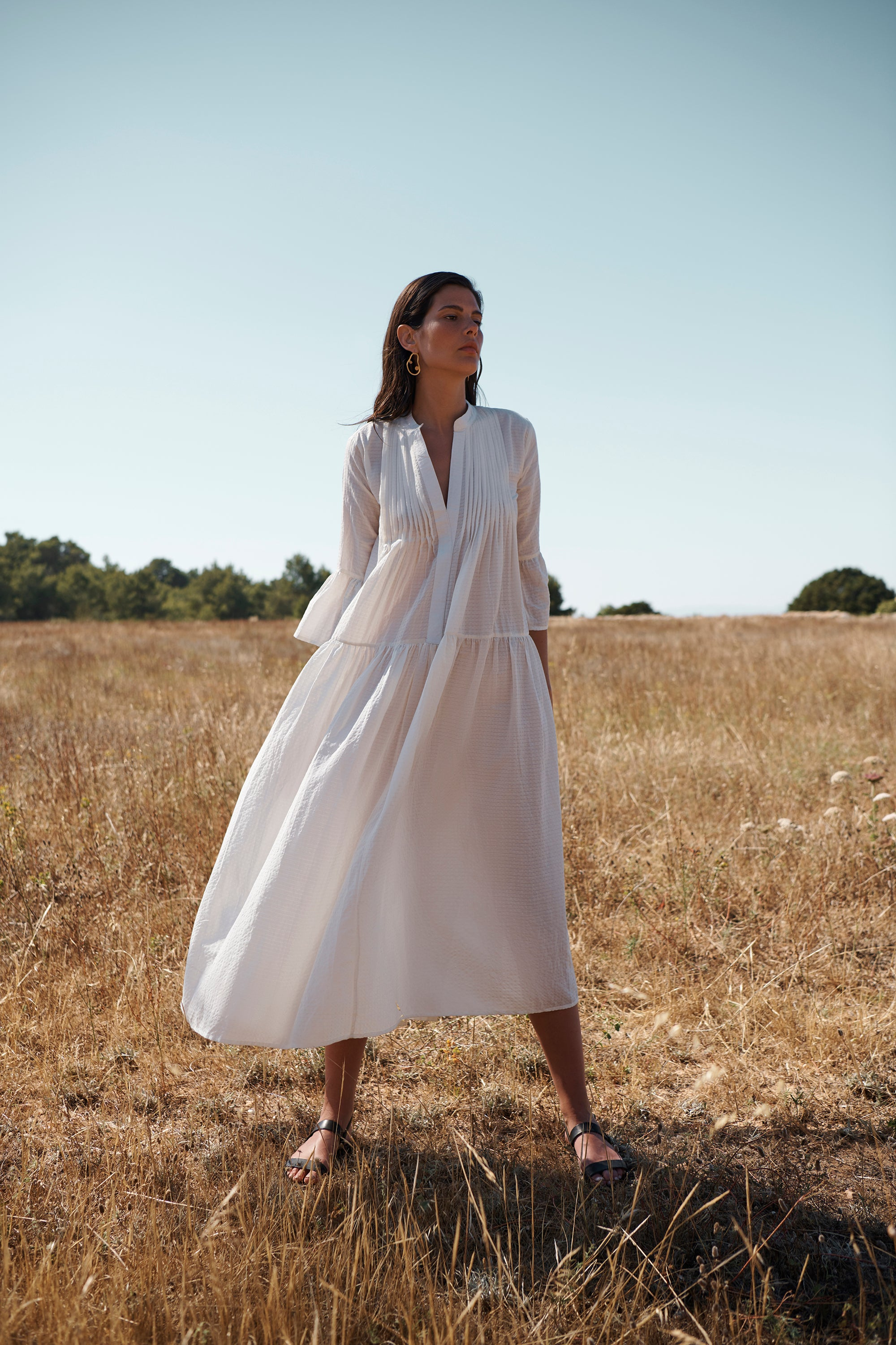 EVARAE Livy Pleated Smock Dress White Summer 2020