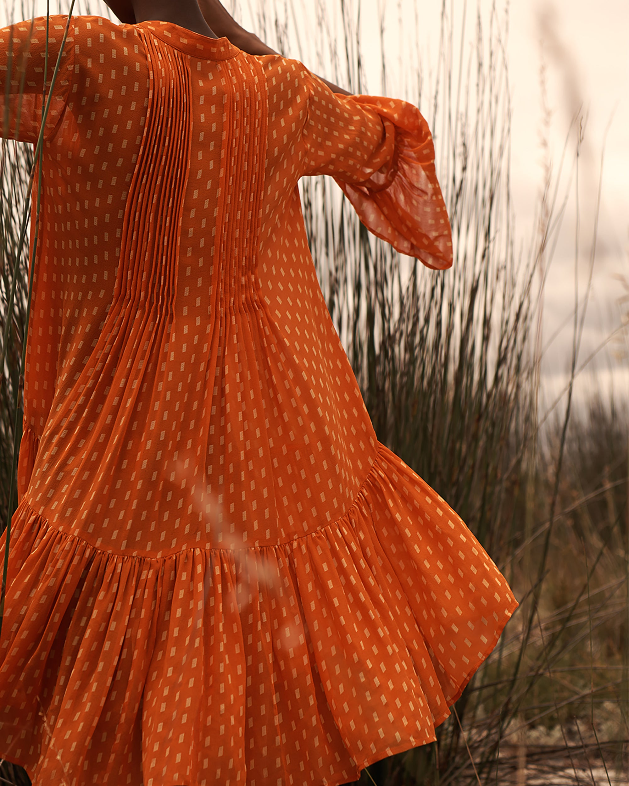 EVARAE Loli Pleated Smock Dress in Silk Apricot Dot Summer 20