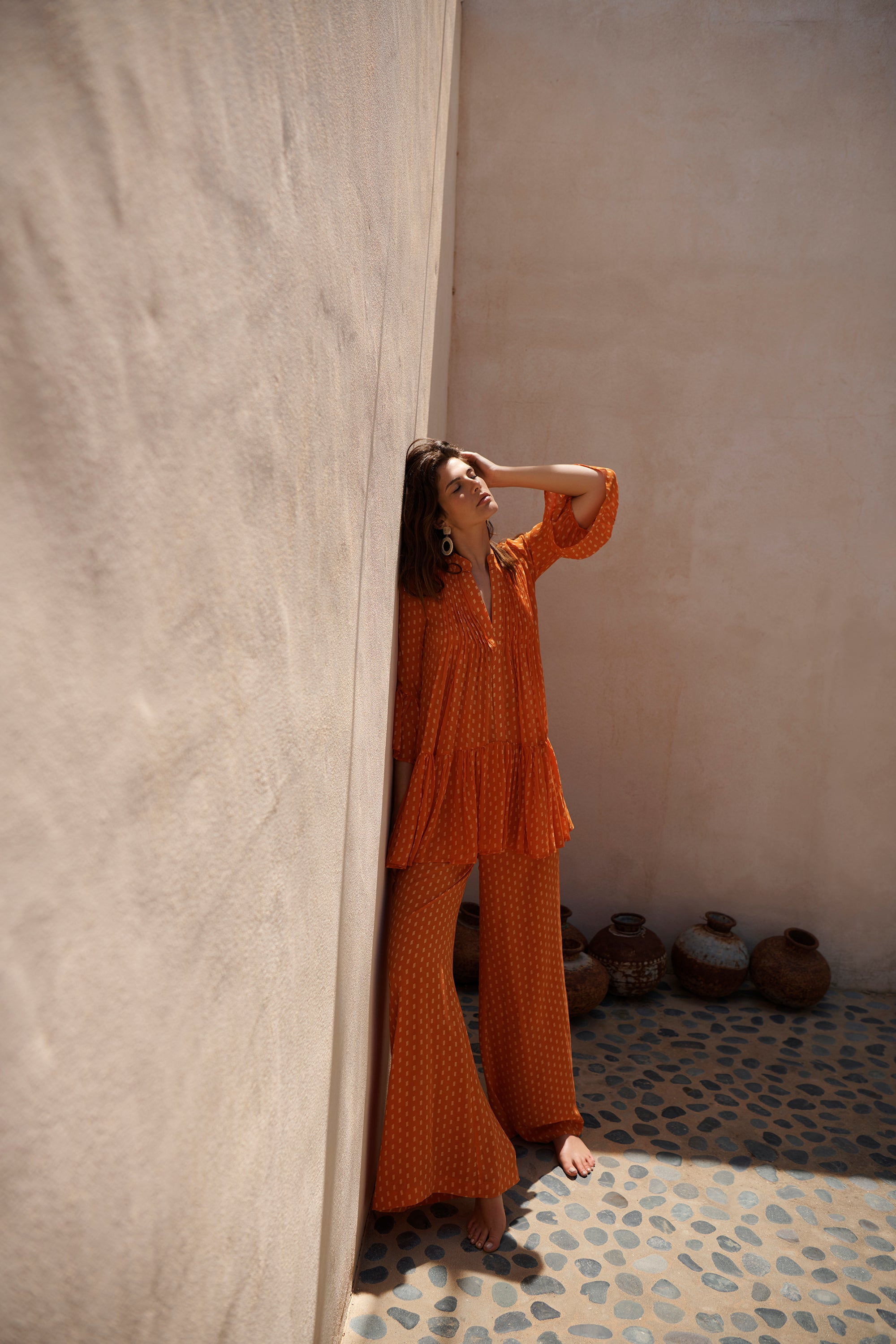 EVARAE Loli Pleated Silk Dress in Apricot Dot with Diana Wide Leg Trousers Summer 2020