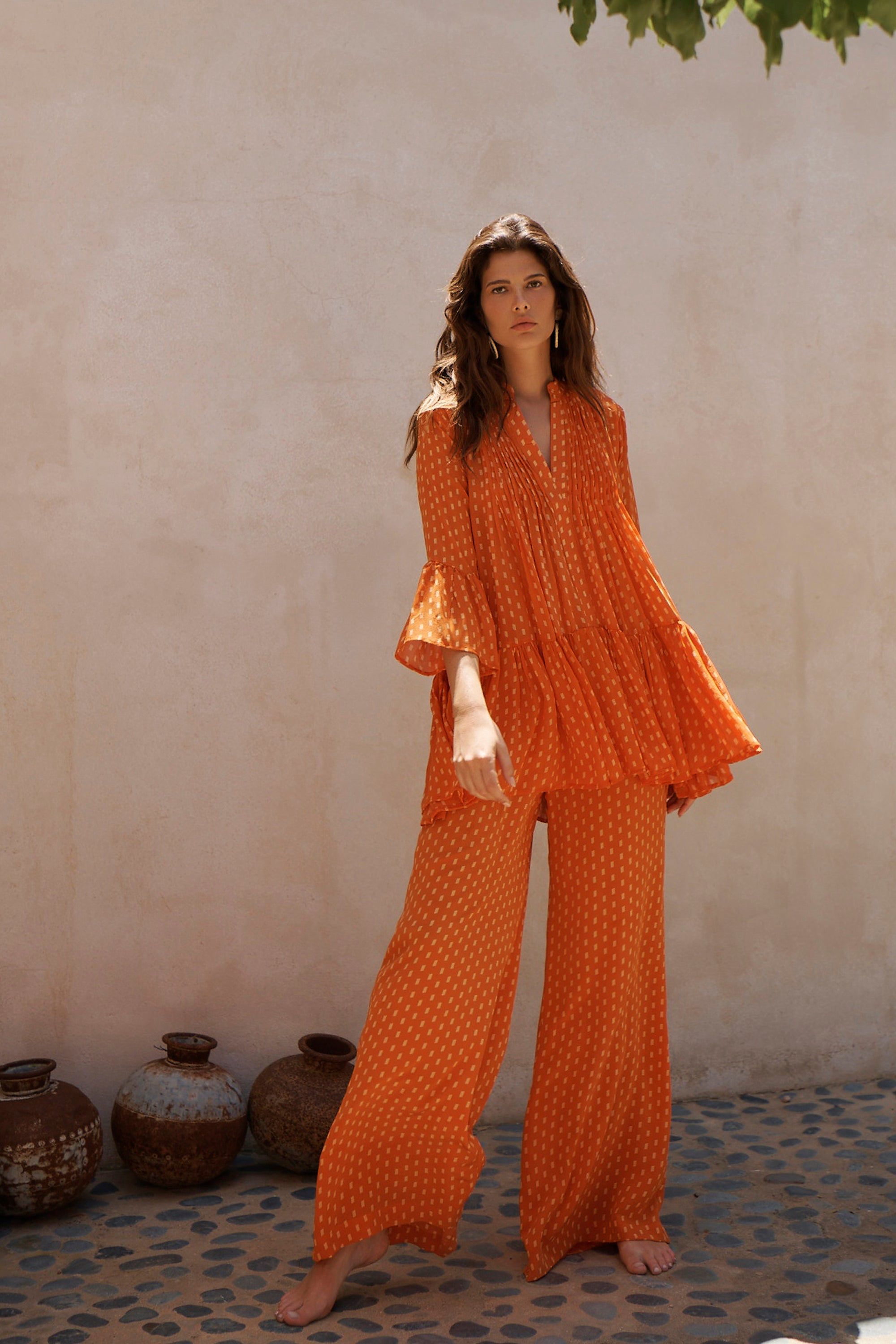 EVARAE Loli Pleated Smock Dress in Apricot Dot with Diana Trousers Summer 2020
