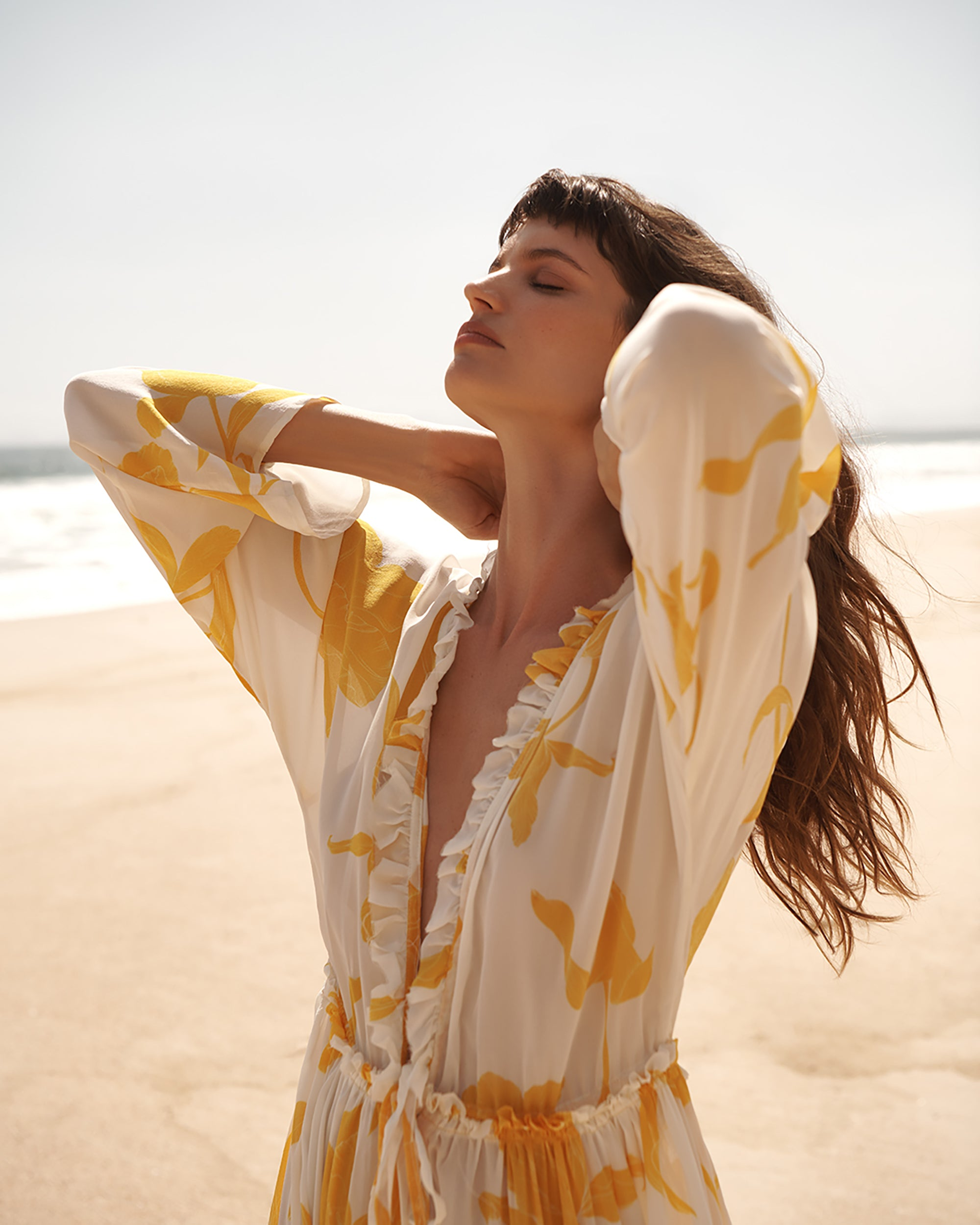 EVARAE Talia Maxi Dress in Silk Flower of Joy Creme. Sustainable swimwear and ethical resort wear.