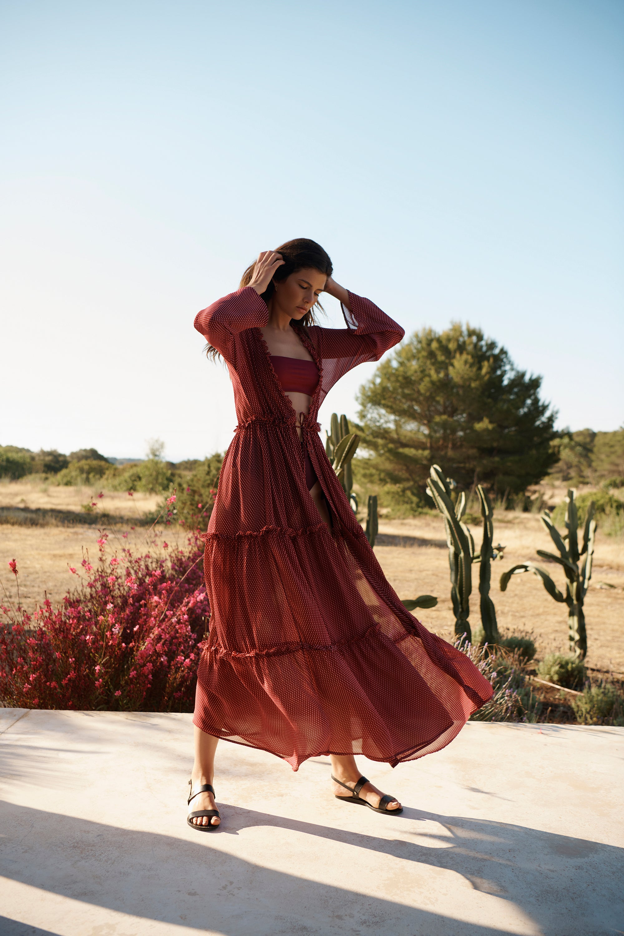 EVARAE Talia Silk Maxi Dress Tiered Skirt Geo Berry Summer 2020