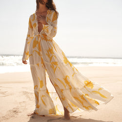 EVARAE Talia Maxi Dress in Flower of Joy Creme Silk Tiered Skirt and Ruffle Detail SS20 Model