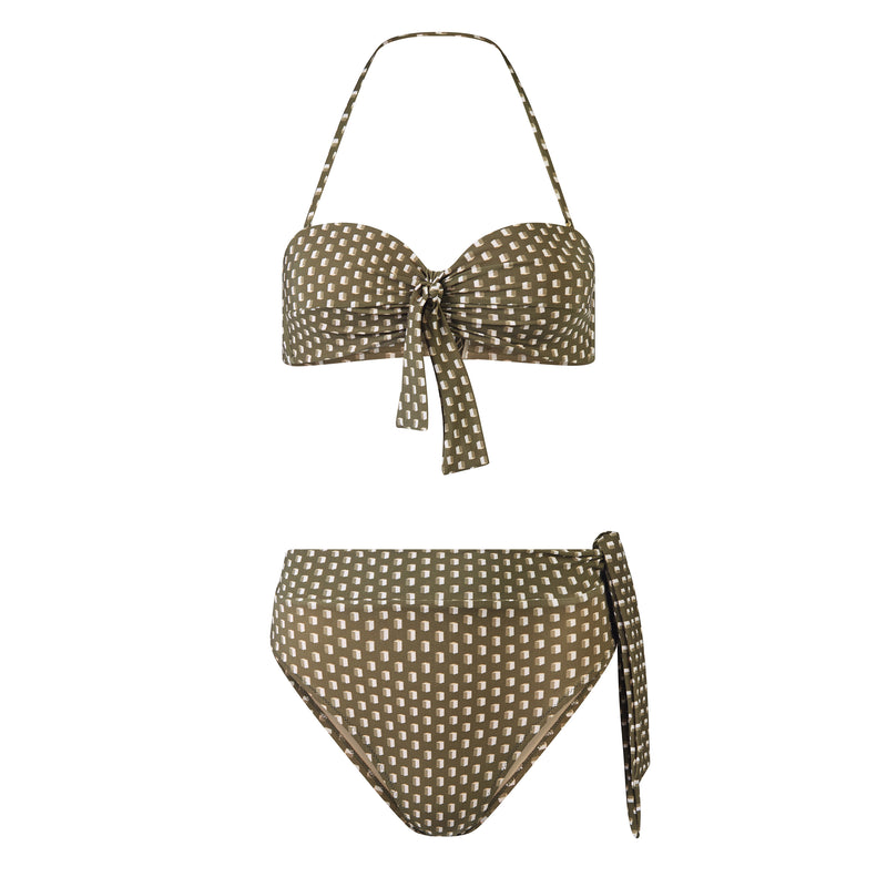 EVARAE Yasmeen Bikini Bottoms in Diamond Dot sage with side bow in silky sustainable fabric. Resort 20 Product