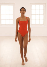 CASSANDRA SWIMSUIT - RED TEXTURED STRIPE