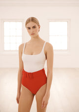 CASSANDRA SWIMSUIT IN ECONYL® - CREME/ROUGE