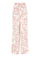 DIANA TROUSERS IN ORGANIC SILK - CONFETTI ROUGE