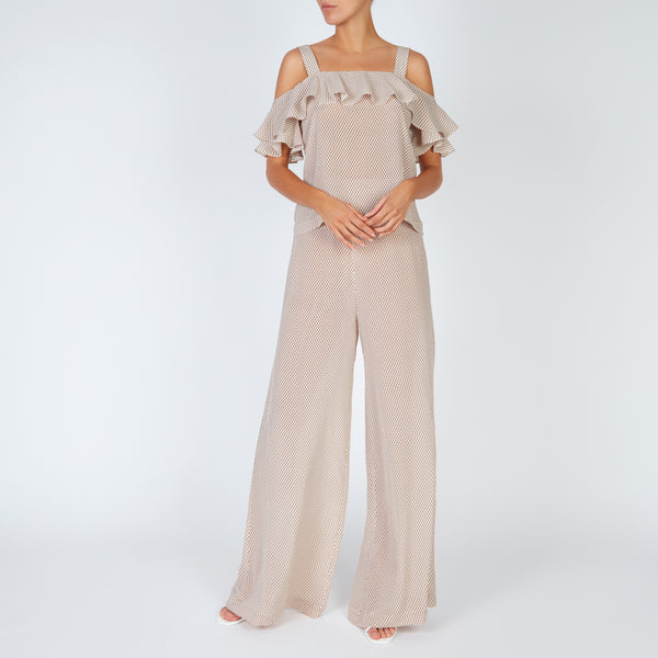 EVARAE Diana Silk Trousers Triangle Dot Latte Front