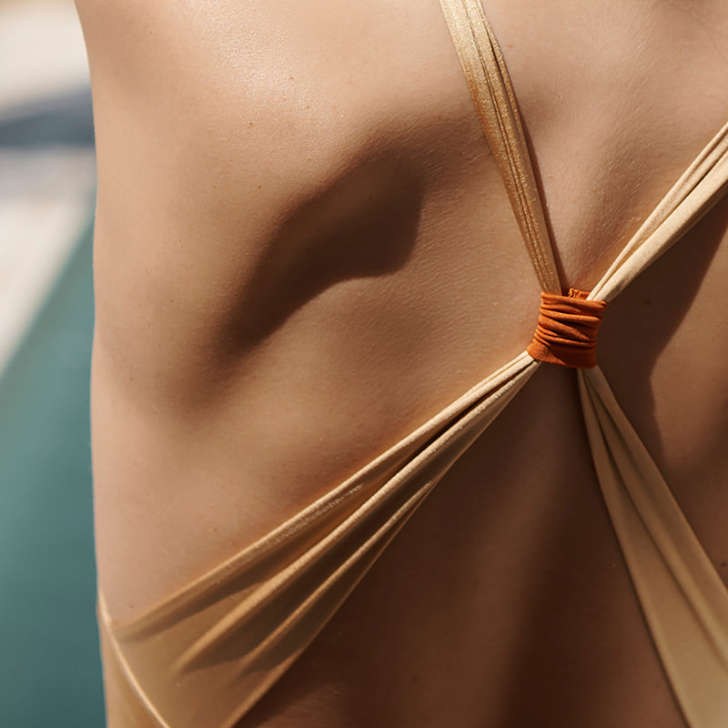 EVARAE Cassandra Swimsuit Cross Back in Rococco. Sustainable Swimwear. Summer 2020. Back detail