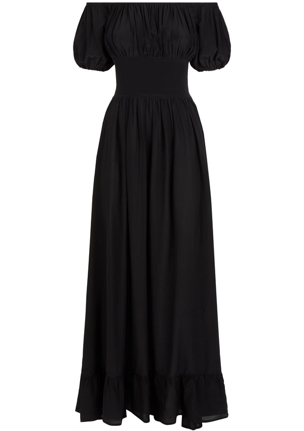 HESTIA DRESS IN ORGANIC SILK - NERO