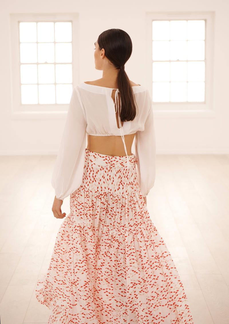 MELOR SKIRT IN ORGANIC SILK - CONFETTI ROUGE