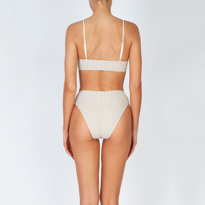 EVARAE Iza High Waisted Bikini Bottoms in Ice Mocha Seersucker Stripe Back