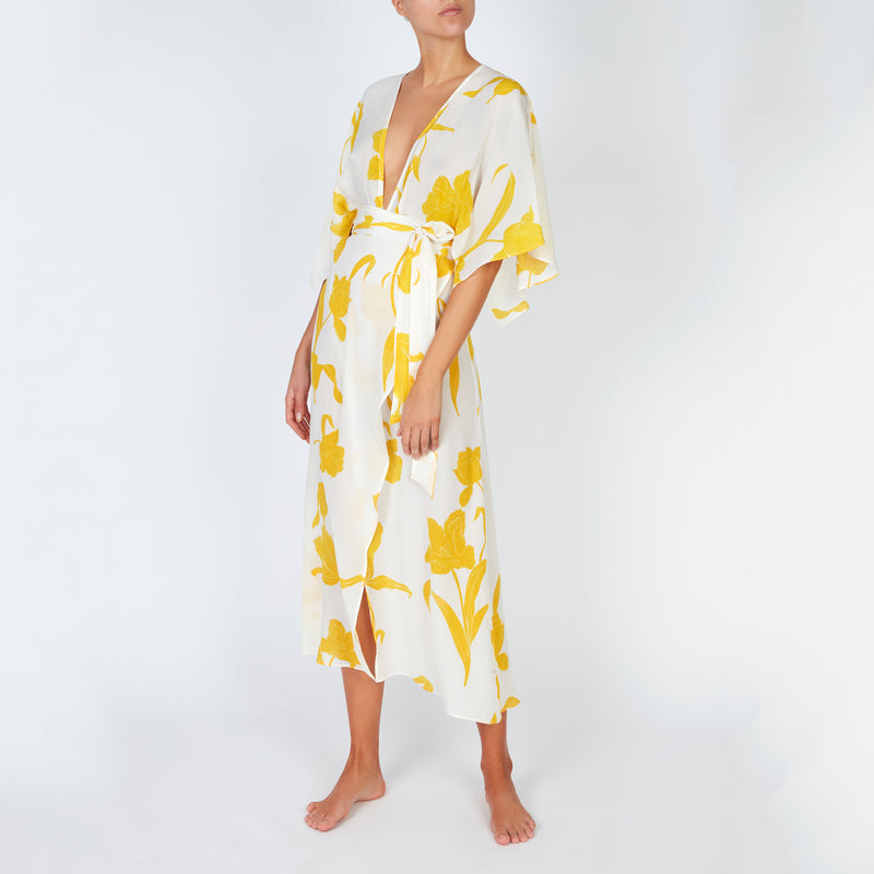 EVARAE Modica Wrap Dress in Silk Flower of Joy Citrus Creme Kimono Sleeves SS20 Front