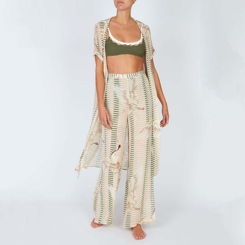 EVARAE Aprilla Wide Silk Palazzo Trousers Bird of Happiness Sage Open Front