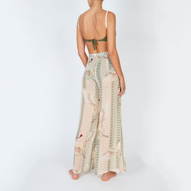EVARAE Aprilla Wide Silk Palazzo Trousers Bird of Happiness Sage Back