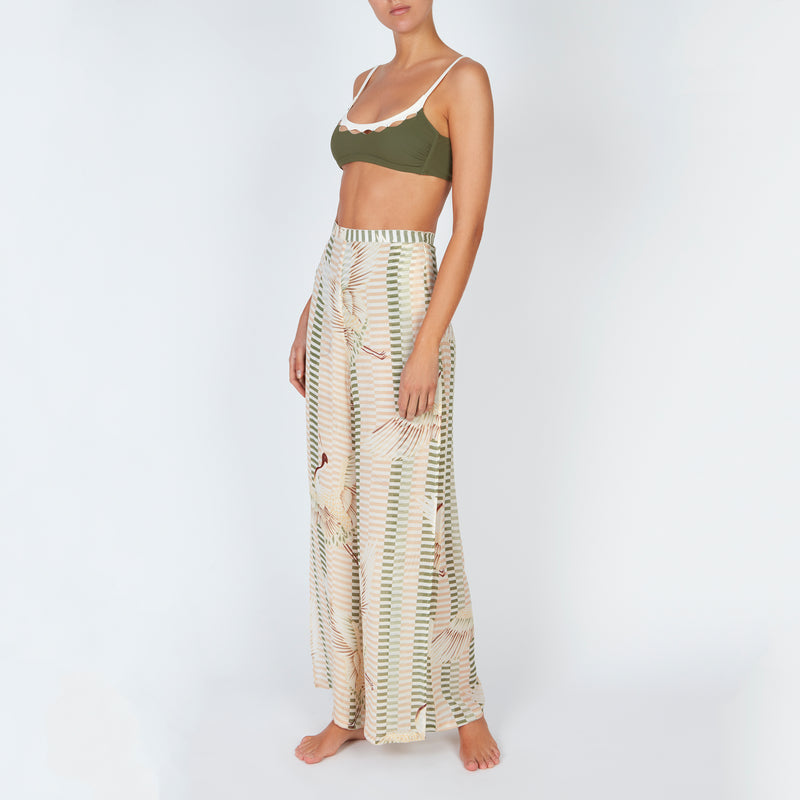 EVARAE Aprilla Wide Silk Trousers Bird of Happiness Sage Side