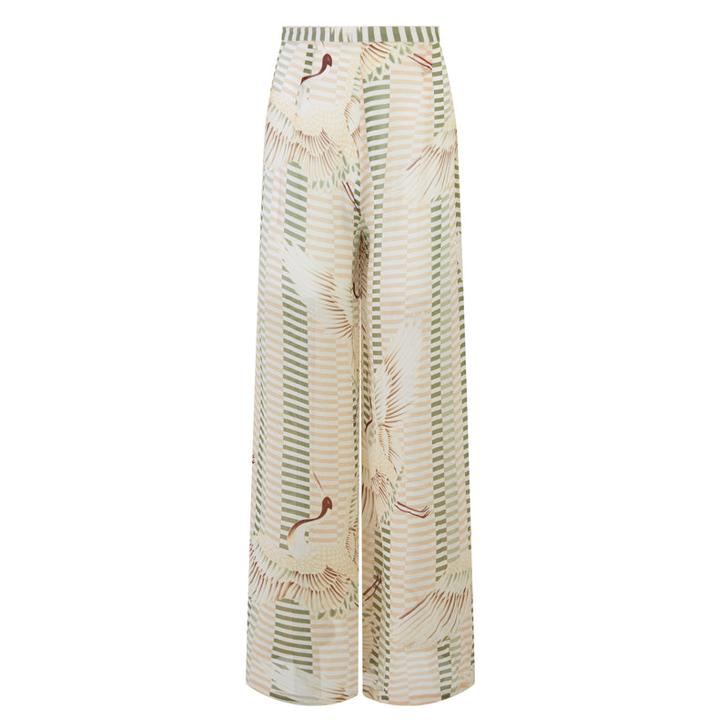 EVARAE Aprilla Wide Silk Trousers Bird of Happiness Sage Product
