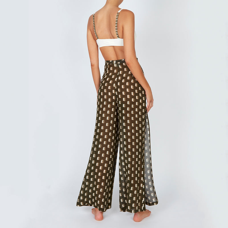 EVARAE Aprilla Wide Silk Trousers Diamond Dot Sage Back