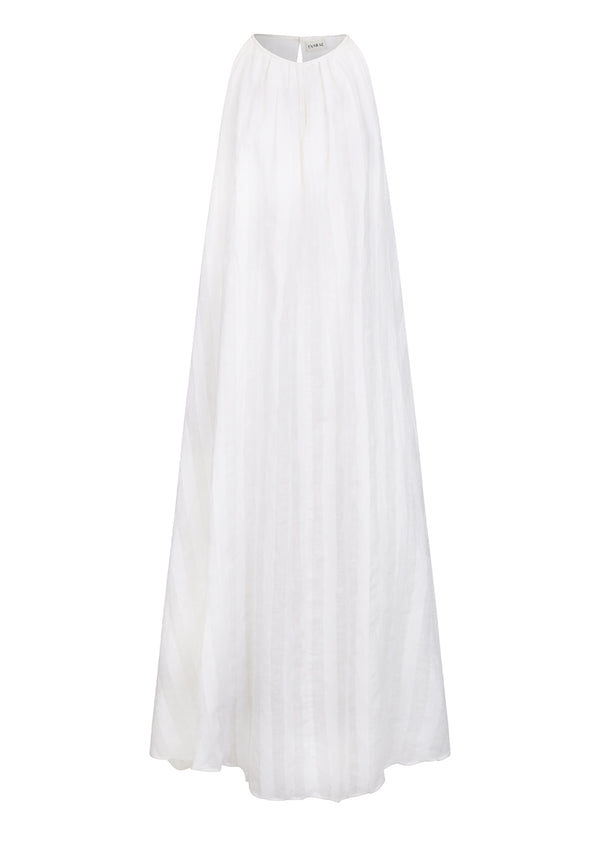 BASTIA DRESS IN LINEN STRIPE - SOFT WHITE